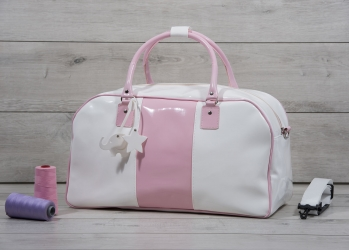 Patent leather christening suitcase